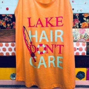 Lake Hair Don't Care racerback Tank